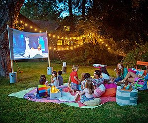 Backyard Movie Night, Traditions, Summer, Family, Christmas Lights Installation, Chicago, It's A Wonderful Light